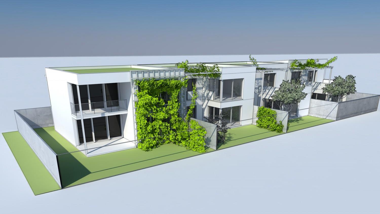 Visualisierung Reihenhaus mit begrünten Vorgärten und Rankgerüsten