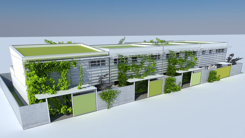 Visualisierung Reihenhaus mit begrünten Vorgärten und Eingangsschleuse