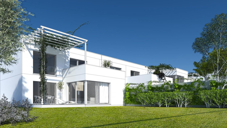 Visualisierung Reihenhaus mit begrünten Vorgärten, Rankgerüsten und Balkon im ersten Obergeschoss