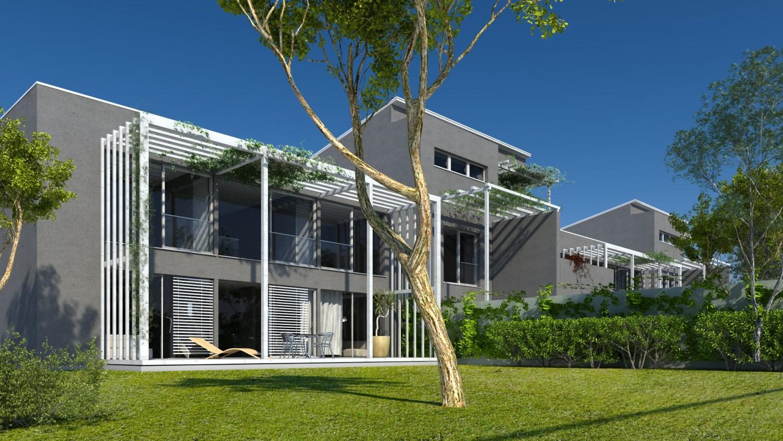 Visualiserung Reihenhaus mit Terrassenmodul, begrünten Spalieren an der Fassade und Garten