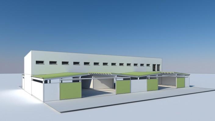 Visualisierung Zentralgebäude eingeschossig und Abstellplätzen