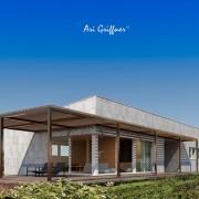 Long House in modernem Design mit Pultdach und asymmetrischer Fensteranordnung