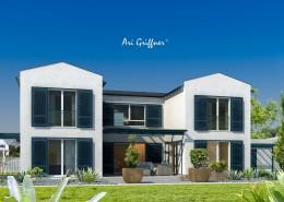 Rendering Atrium Two in klassich-modernem Design mit Satteldach und symmetrischer Fensteranordnung