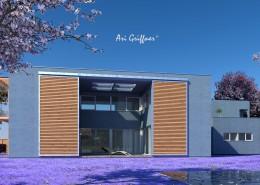 Rendering Atrium Two in modernem Design mit Flachdach und zentraler Fensteranordnung