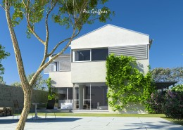 Rendering Hofhaus Two in klassisch-modernem Design mit Satteldach und Eckfenstern
