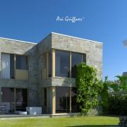 Rendering Hofhaus Two in modernem Design mit Flachdach und Eckfenstern