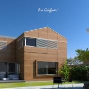 Rendering Hofhaus Two in klassisch-modernem Design mit Satteldach und asymmetrischer Fensteranordnung