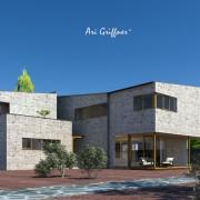 Rendering Long House 180° in modernem Design mit Pultdach und asymmetrischer Fensteranordnung