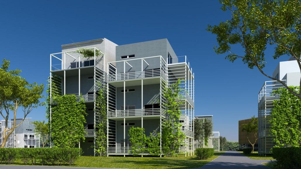 Visualisierung Microhabitat 4 geschossig mit Balkon und Rankgerüst