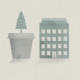 Ein Baum wächst aus einem Blumentopf - daneben ein Haus