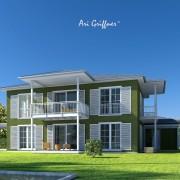 Rendering Long House 90° in klassischem Design mit Walmdach und symmetrischer Fensteranordnung