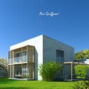 Rendering Long House 90° in modernem Design mit Pultdach und zentraler Fensteranordnung