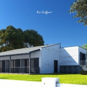 Rendering Split-Level One in modernem Design mit Pult-/Flachdach und symmetrischer Fensteranordnung