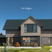 Special 8 Long House 90° in klassischem Design mit Satteldach und Eckfenstern