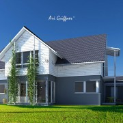 Rendering Special 9 Long House 90° in klassischem Design mit Satteldach und Eckfenstern