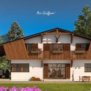 Rendering Special 10 Long House 90° in klassischem Design mit Satteldach und symmetrischer Fensteranordnung