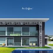 Rendering Special 16 Long House 90° in modernem Design mit Pultdach und vollflächiger Fensteranordnung