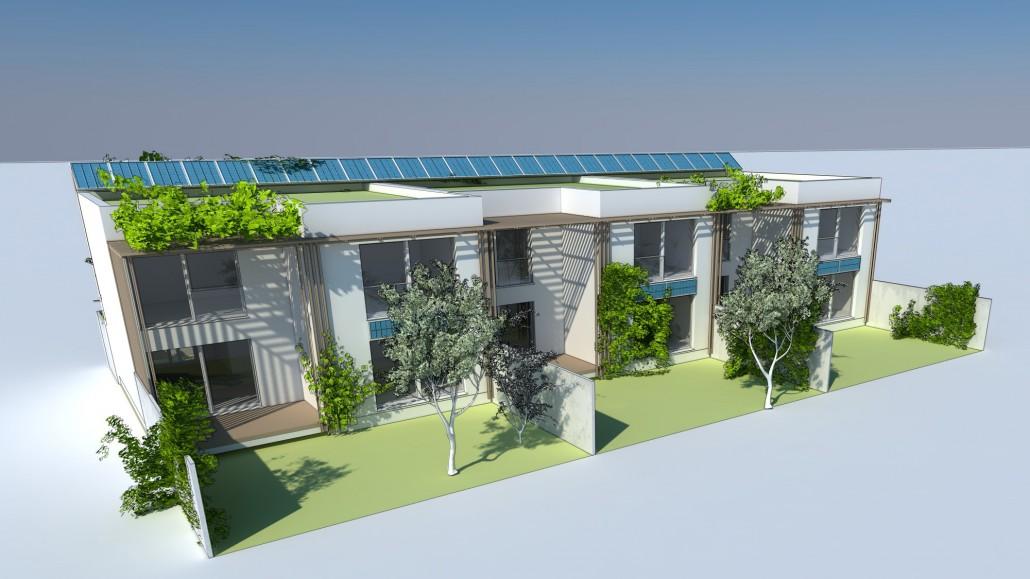 Visualisierung Reihenhaus mit begrünten Vorgärten